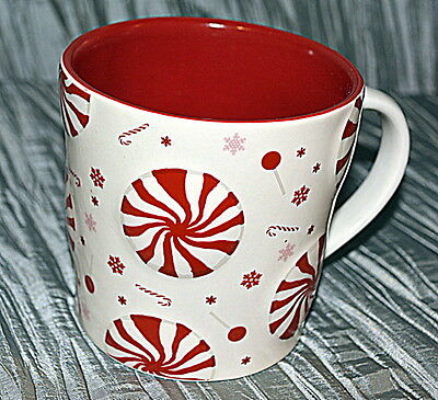 Rare 2007 STARBUCKS HOLIDAY MUG 16 oz. Christmas White Peppermint Candy Cane