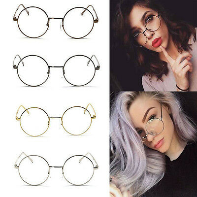 Womens Men Large Oversized Metal Frame Clear Lens Round Circle Eye Glasses Gifts