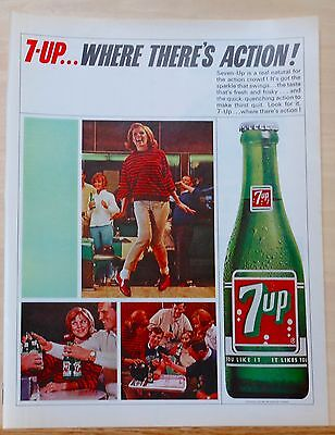 Vintage 1965 magazine ad for Seven-Up Soda - Bowlers - giant bottle of 7-Up