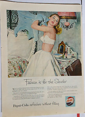1953 magazine ad for Pepsi-Cola - Fashion is For the Slender, pinup girl