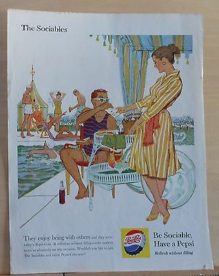 1959  magazine ad for Pepsi - The Sociables enjoy Pepsi at poolside, colorful