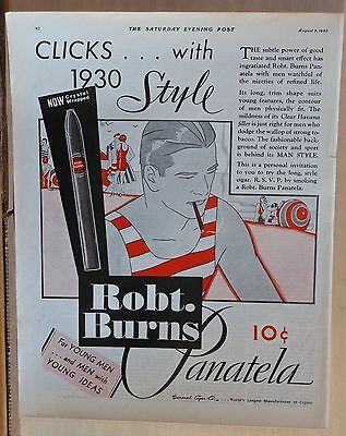 """1930 magazine ad for Robt. Burns Cigars - Clicks with 1930 Style, """"Man Style"""""""