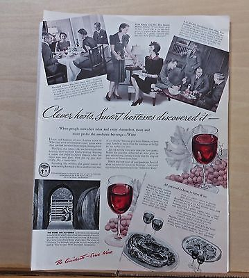 1940 magazine ad for California Wines - Clever hosts, Smart Hostesses discovered