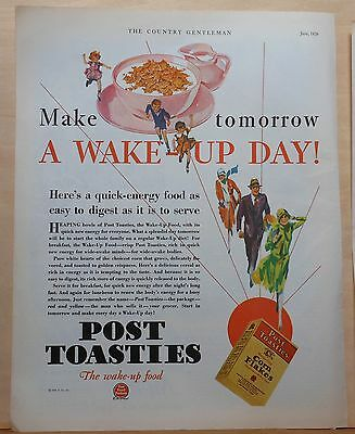 1929 vintage magazine ad for Post Toasties - Make Tomorrow a Wake Up Day!