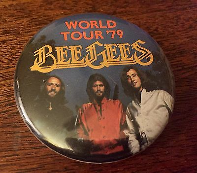 Vtg BEE GEES World Tour '79 PIN Badge BUTTON 1979