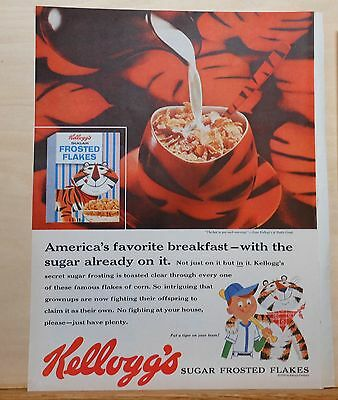 1959 vintage magazine ad for Kellogg's Sugar Frosted Flakes - Tiger bowl, plate
