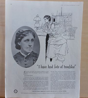 1957 magazine ad for US Savings Bonds - Louisa May Alcott, had lots of troubles