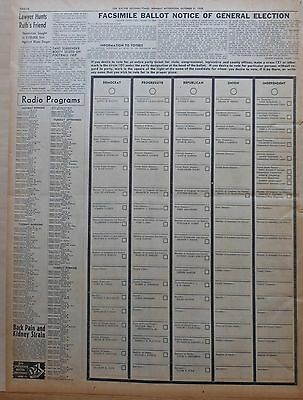 1938 vintage large newspaper ballot for Wisconsin Elections in Racine County