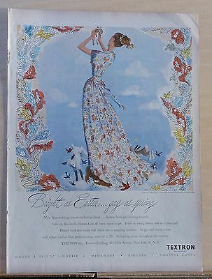 1948 magazine ad for Textron Fabrics - charming illustration, Easter theme ad