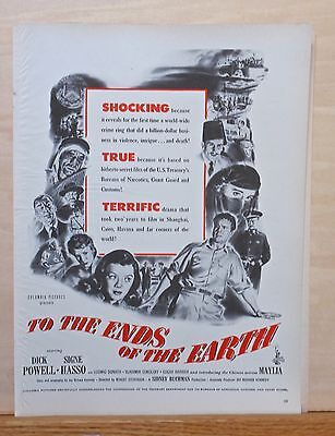 """Vintage 1948 magazine ad for movie """"To The Ends of the Earth"""" - Dick Powell"""