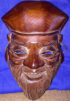 Old Chinese Japanese Carved Wooden Wall Mask Samurai Elder Master Signed