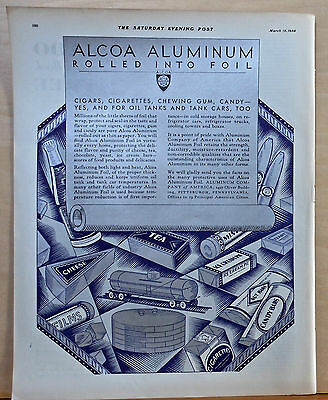 1930 magazine ad for Alcoa Aluminum, Aluminum products highlighted in silver ink