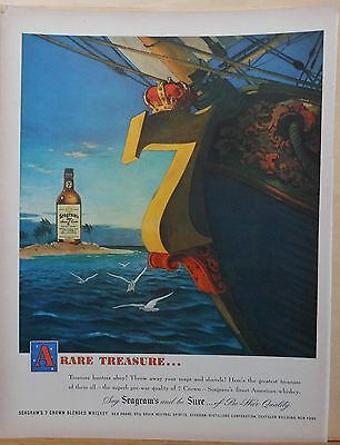 1948 magazine ad for Seagram's Seven Whiskey - Treasure Hunters Ahoy! colorful