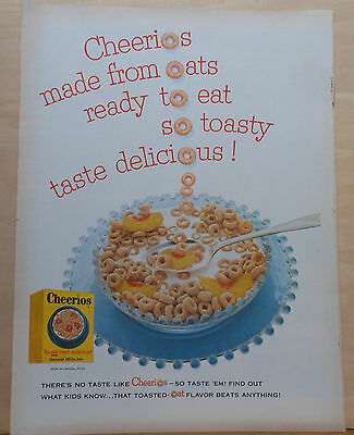 1955 magazine ad for Cheerios cereal - Spelling with Cheerios, bowl of cereal