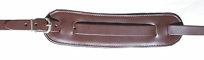 UK Made Real Leather Brown Vintage Guitar Strap with Moveable Shoulder Pad