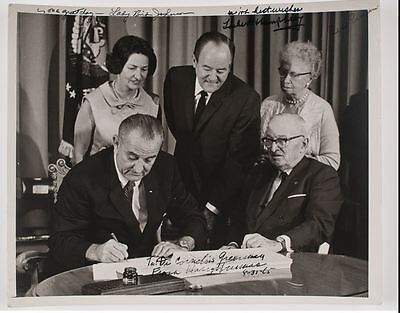 Harry & Bess Truman, Hubert Humphrey & Lady Bird Johnson Multi-Signed Photo