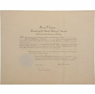 Harry Truman 1946 Document Signed as President - Appointing John Steelman
