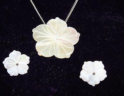 Carved Mother of Pearl Flower Earrings Pendant Sterling Silver Set MOP