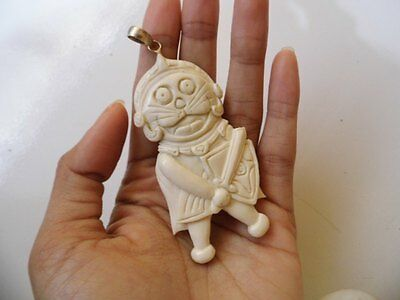 Pendant Necklace Doraemon Warrior From Buffalo Bone Carved with Silver 925_v684