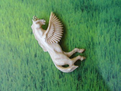 Pendant Necklace Pegasus HORSE Wing From Buffalo Bone Carving w/ Silver 925_x81