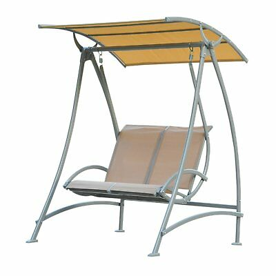 Outsunny 2 Seater Garden Swing Chair Bench Lounger Seat W Hammock Steel Frame