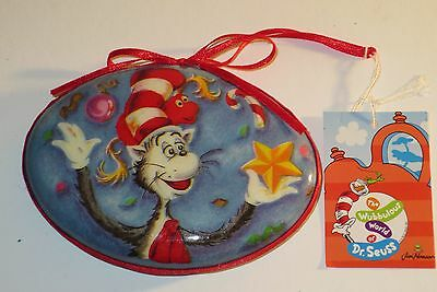 Cat In The Hat Decoupage  Ornament New With Tags