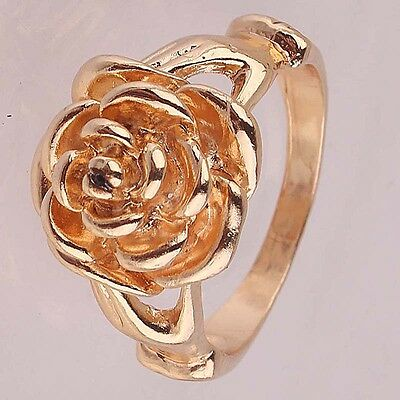 High Quality Woman 14k Gold Filled US size 10 Chic Flower Ring Jewelry C102