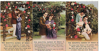 Set Of 3 Bamforth Song Series No 4850 The Beautiful Garden Of Roses