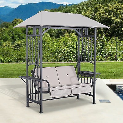 Outsunny Outdoor Patio 2 Person Swing Chair Seat Porch Loveseat Hammock w/Canopy