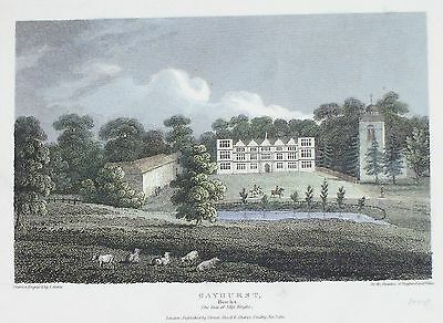 OLD ANTIQUE PRINT GAYHURST HOUSE BUCKINGHAMSHIRE c1810 ENGRAVING by STORER