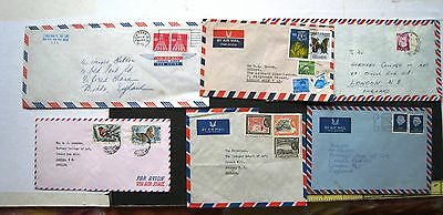 6 Foreign Air Mail Covers:- Lebanon / Br.guiana / Usa / India / Israel / Holland