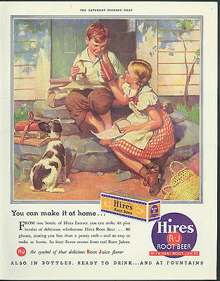 You can make it at home Hires Root Beer Extract ad 1937 boy & girl on steps