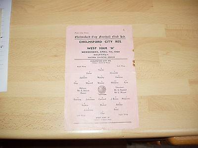 Chelmsford City Res v West Ham 'A'  Eastern Cts Lge 1953/4 Single Sheet
