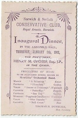 1902 Norwich and Norfolk Conservative Club Dinner Menu