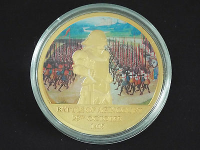 Medallion Gold Plated Coin... Battle Of Agincourt...in Capsule & Certificate
