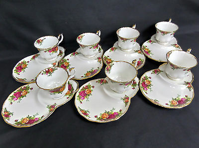 7 OLD COUNTRY ROSES HOSTESS / TENNIS SETS, 1st QLTY, GC, 1962-73, ROYAL ALBERT