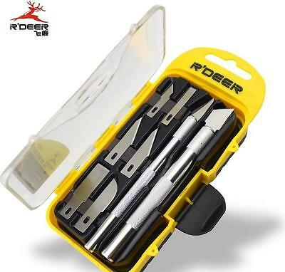 R'DEER 10in1 Crafts Hobby Knife Cutting Tool Kit+8X Blades Art Work DIY Carving