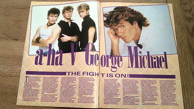 A-HA versus GEORGE MICHAEL 3 page UK ARTICLE / clipping