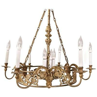 French Empire Style Bronze Figural 10-Light Chandelier, Late 19th Century