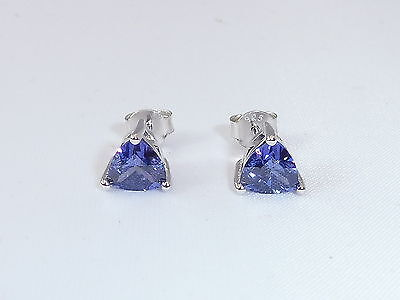 Ladies Sterling 925 Solid Silver 1.2 CT Trillion Cut Purple Tanzanite Earrings