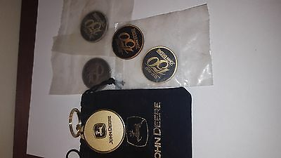 John Deere Key Chain In Bag And 4 150 Year Anniversary Lot 1837-1987 Nos Lot E