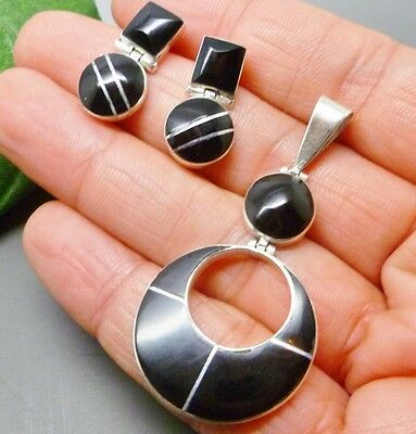 TAXCO MEXICAN 925 STERLING SILVER BLACK ONYX Earrings Pendant Set Stamped