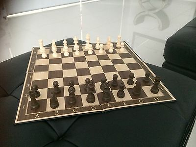 Chess Set large wooden pieces gold standard ultra thick playing board Can Post