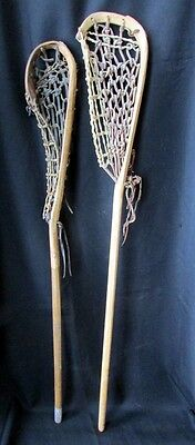 Pair 2 Vtg Indian Mohawk Lacrosse Stick Wood Rawhide Webbing Game Used Condition