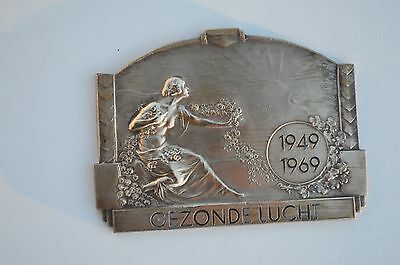 Antique Solid Bronze Medal Depicting A Semi-Nude Beautiful Girl