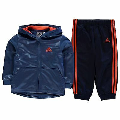 adidas Kids 3S HD Tracksuit Poly Infant Boys Sports Elastic Bottoms Full Zip Top