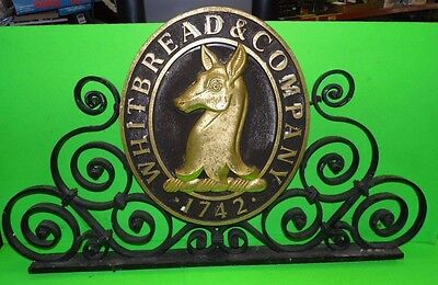 Vintage Whitbread & Company 1742 Double Sided  Metal & Resin Pub Sign