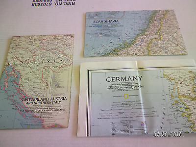 "3  Maps From  National Geographic Society.""germany, Sandinavia, Switzerland"""