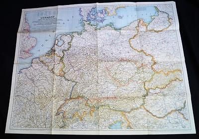 The National Geographic Society Map Of Germany July 1944 Wwii Vintage