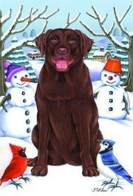 Large Indoor/Outdoor Winter Flag - Chocolate Labrador Retriever (TP) 61028